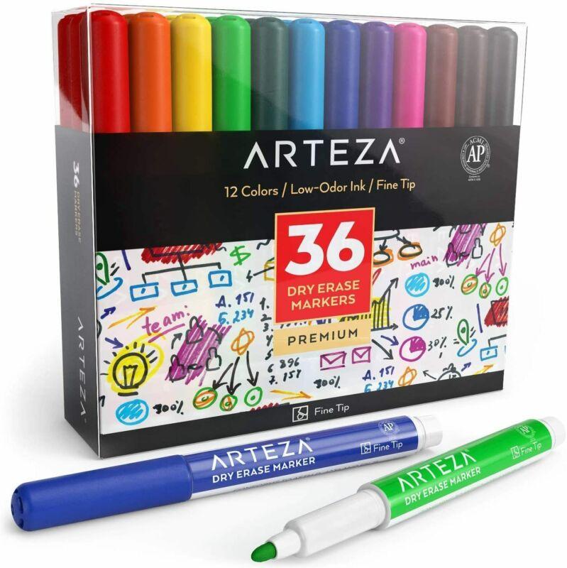 ARTEZA Dry Erase Markers, Fine Tip, 12 Colors, Set of 36