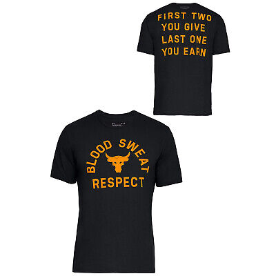 Under Armour Mens x Project Rock Blood Sweat Respect T-Shirt Top 1326387 001
