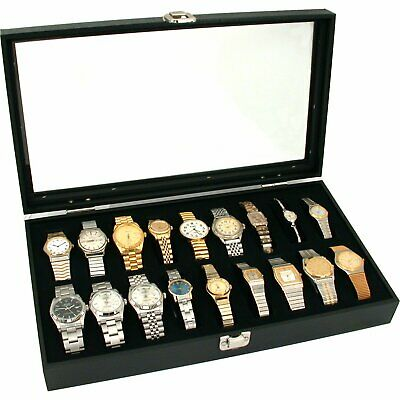 """New Glass Top Watch Display Jewelry Case Holds 18 Watches 14 3/4"""" x 8 1/4"""""""