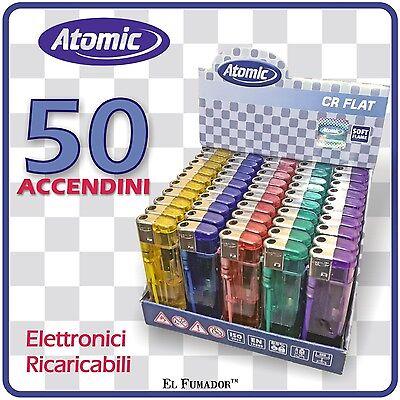 50 ACCENDINI ATOMIC CR FLAT RICARICABILI ELETTRONICI Colorati Economici Grandi