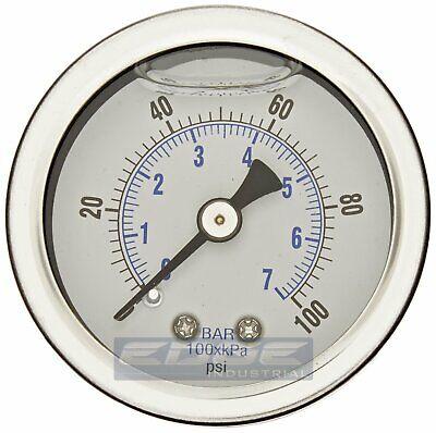 Liquid Filled Pressure Gauge 0-100 Psi 1.5 Face 18 Npt Back Mount
