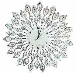 "Lulu Decor, 25"" Crystal Leaf Metal Wall Clock, 9"" White Glass Dial"
