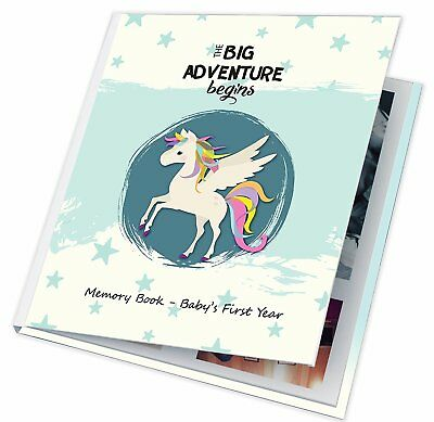 Baby Memory Book First Year Boy Girl Pictures Photos Album Christmas Gift Gray  - Baby Boy Baby Book
