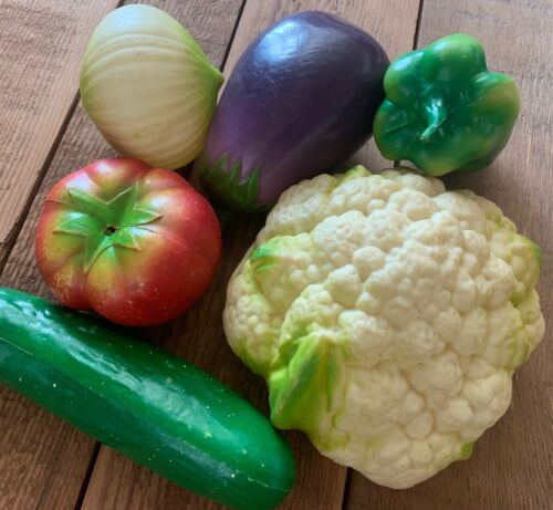 Lot of 6 Vintage Plastic Fake Vegetables