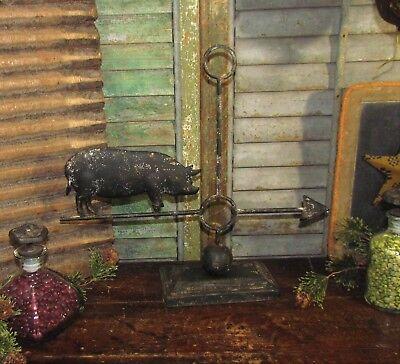Primitive Antique Vtg Style Country Farm Barn Yard Metal Pig Hog Weather Vane