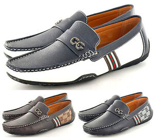 New-Mens-Leather-Look-Designer-Inspired-Slip-On-Loafers-Shoes-UK-6-7-8-9-10-11