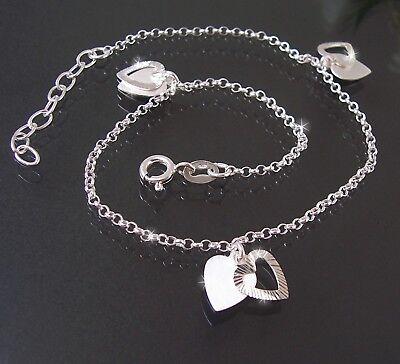 Fußkette Kette 925er Silber 24-27cm Bettelkette Herz Herzen Fußschmuck 22518-27