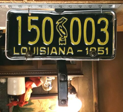LOUISIANA - 1951 passenger car license plate - ORIGINAL with CHROME mounting