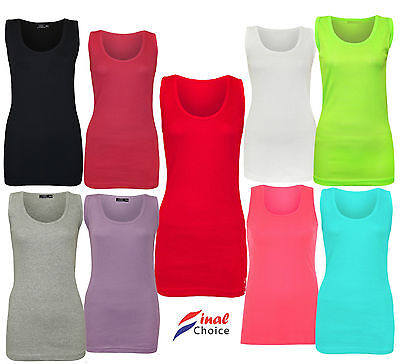 New Ladies Women Sleeveless Casual Gym Ribbed Stretchy Vest Lot Top Shirt