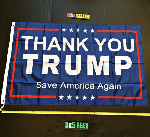 Donald Trump 2020 Flag FREE FIRST CLASS SHIP Thank You Trump USA Sign Poster New