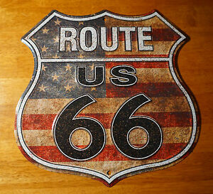 Rustic American Flag Route 66 Tin Sign Retro Highway Home