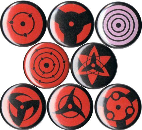 Set of 8 Naruto Sharingan pins buttons anime eye Uchiha Sususke Kakashi Itachi