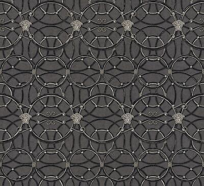 Versace Heritage Black Silver Wallpaper Medusa Ornament Paste Wall Metallic