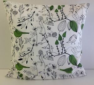 cushion covers made from trendy ikea green bird fabric green leaves trees ebay. Black Bedroom Furniture Sets. Home Design Ideas