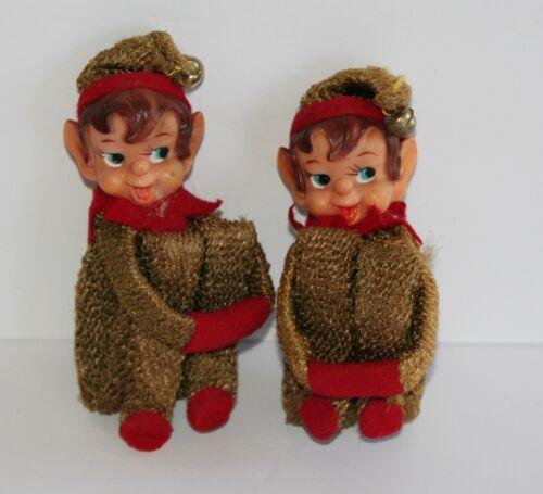 Vintage Pair of Knee Hugger Elf Christmas Ornaments Gold Metallic
