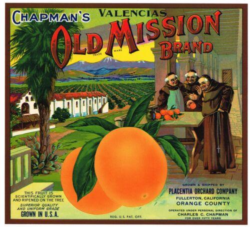 ORIGINAL ORANGE COUNTY CRATE LABEL OLD MISSION FULLERTON VINTAGE MONKS C1930