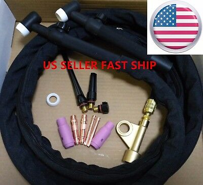 Us Seller Wp-17fv 12ft 150a Air-cooled Tig Welding Torch Gas Valve Flex Head