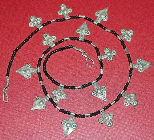 Antique Nomadic Tuareg Tribe Silver Berber Amulet Pendants Necklace Niger Africa