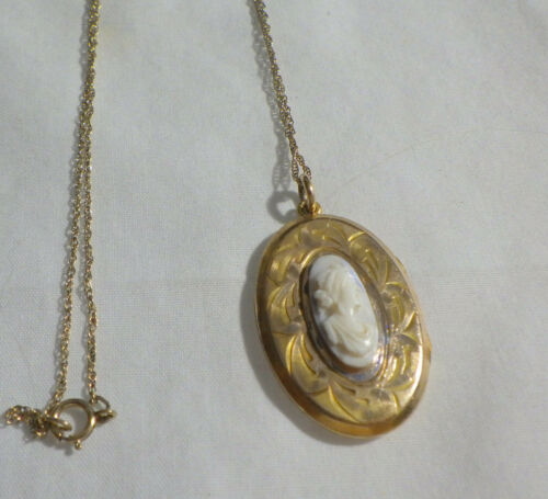 """VICTORIAN LOCKET WITH SHELL CAMEO  16"""" FINE CHAIN"""