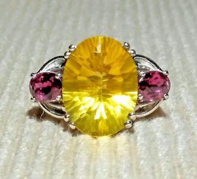 (CANARY YELLOW FLUORITE & RHODOLITE GARNET RING 11.85 carats  Size 7 Platinum/SS)