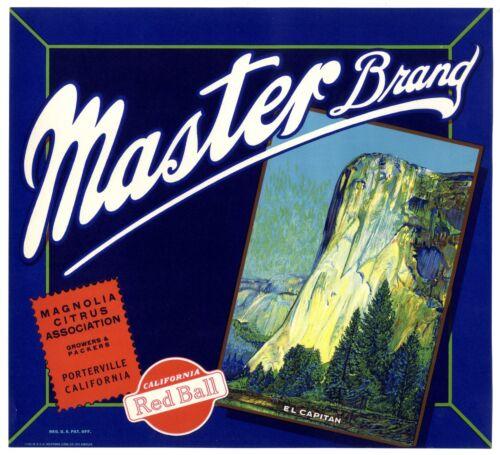 MASTER~YOSEMITE EL CAPITAN~RARE 1930s TULARE CALIFORNIA ORANGE FRUIT CRATE LABEL