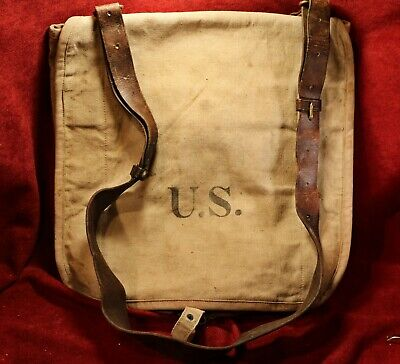 US Haversack M1898 Pattern with leather sling - Great Condition - Owner Marked