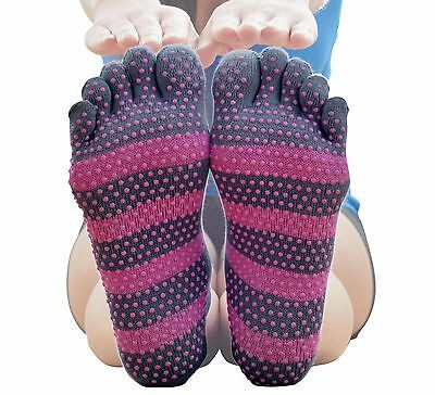 Asana Socks Grip Toe Socks Factory Seconds    2 Pairs  Pink   Gray