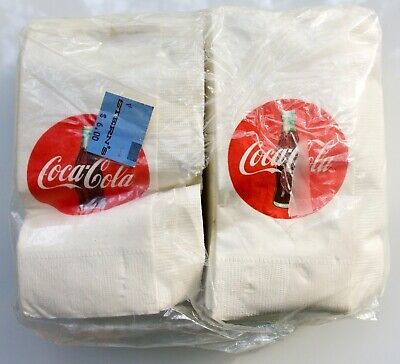 "1993 COCA-COLA 100 DISPENSER NAPKINS RED SIGN W/BOTTLE DESIGN 13""X13"" BY SHADLE"