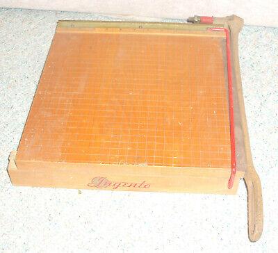 Vintage Ingento 1132 Wooden Paper Cutter Guillotine Cast Metal Arm