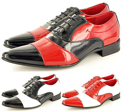 Mens Leather Lined Two Tone Black Red White Spats Jazzy Shoes in UK Size 6-12