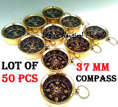 LOT OF 50 PCS MARITIME NAUTICAL VINTAGE STYLE BRASS POCKET COMPASS Nackless,