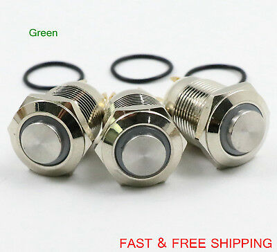 Led Metal Momentary Push Button Switch 4pin 12mm 3v Green 3pcs