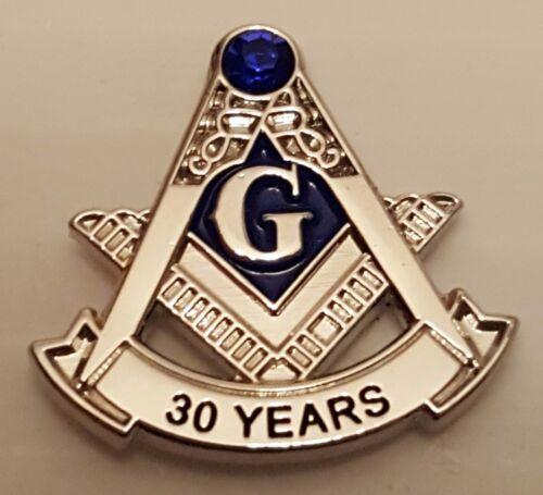 Masonic 30 year service lapel pin silver blue stone at the top Mason
