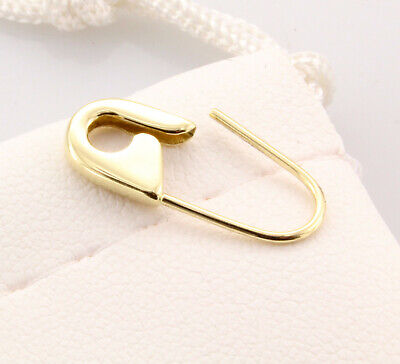 18K Yellow Gold Safety Pin Brooch Earring 3/4