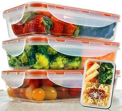 Bento Lunch Box  - Meal Prep Containers Microwavable - BPA Free - Leak (Lunch Box Containers)