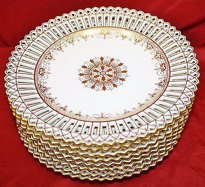 SET 8 ANTIQUE MINTON DAVIS COLLAMORE GOLD ENCRUSTED RETICUALTED PLATES