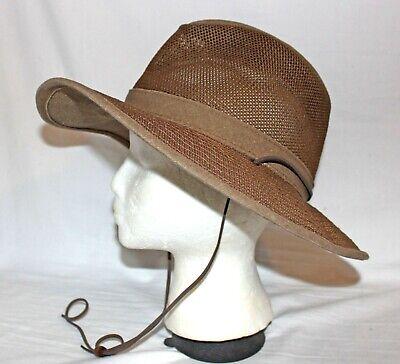HENSCHEL HAT Packable Aussie Breezer Sz M Distressed Brown Mesh Earth Safari Hat