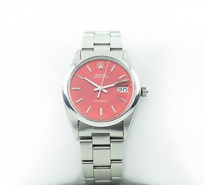 Rolex ♛ Men's Stainless Steel Precision Date Hand-Winding Watch w/ Red Dial 6694