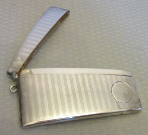 antique STERLING SILVER MH CALLING CARD CASE engine turned curved chatelaine