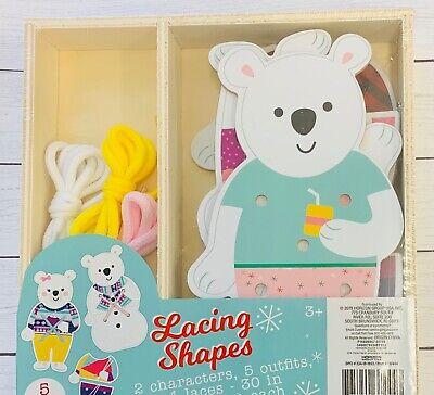 Wooden Lacing Shapes Cards Polar Bear  Preschool Teacher Supply Learning Winter  Wooden Polar Bear