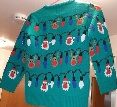 Boys George Christmas festive jumper with LED Flashing Lights 8-9 years