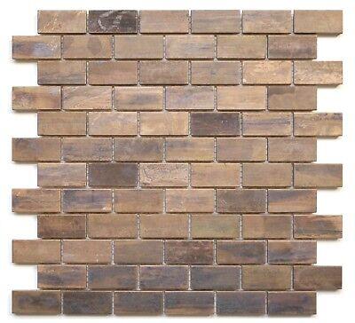 (Backsplash Kitchen Bath Fireplace Tile Medium Brick Antique Copper Mosaic Tile )