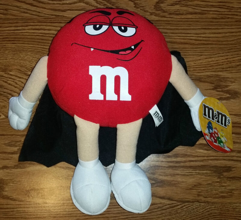 Red M&M Stuffed Animal Mars Plush Dracula Vampire Halloween Toy New With Tags