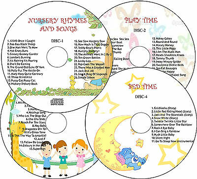 CHILDREN NURSERY RHYMES & SONGS/ PLAYTIME/ PARTY TIME/ BEDTIME STORIES- 4 CD SET