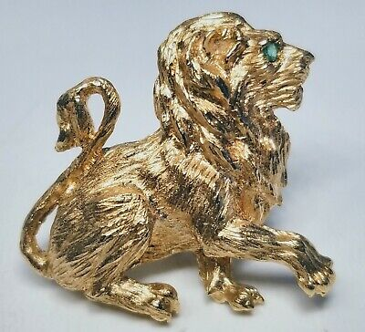 Antique Fine 18K Yellow Gold Lion With Emerald in Eye Pin Brooch Estate -