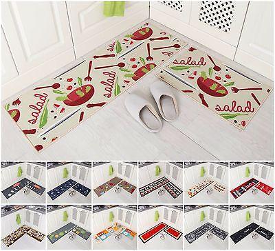 2-Piece Kitchen Mat Set Doormat Runner Rug Anti-Slip Carpet Floor Pad Non - Anti Slip Floor