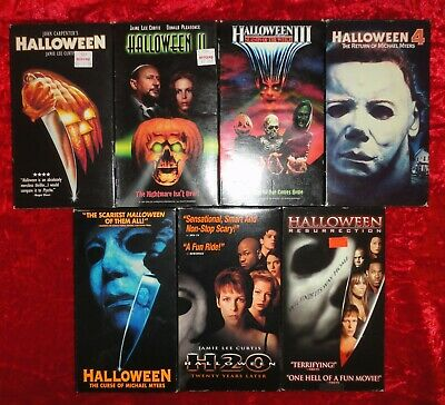 HALLOWEEN MICHAEL MYERS Lot of 7 VHS Tapes Movies 1 2 3 4 Curse H20 Resurrection](Halloween 7 Resurrection)