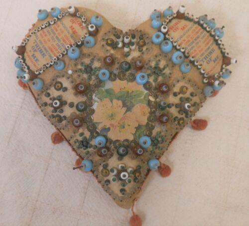 Great Victorian Love Token Heart Pincushion, Beadwork and inset mottos