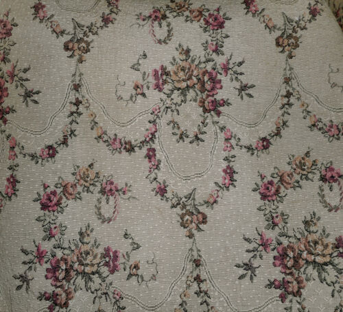 Antique French Shabby Roses Garland Jacquard Tapestry Fabric ~Dusty Rose Oatmeal