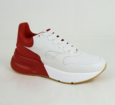 $790 Alexander McQueen Men White/Red Smooth Leather Platform Sneaker 535530 9092
